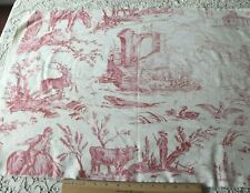 """Antique c1920 French Printed Red & White Scenic Faded Cotton Toile~L-23""""X W-62"""""""