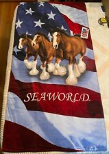 "Nos Vintage Budweiser Beer Clydesdale Seaworld Beach Towel 60""x30"""