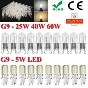 240V G9 LED 5W 25W 40W 60W Watts Clear Halogen Capsule Bulbs Lights ROHS CE FCC