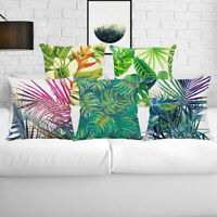 Waist Case Pillow Decor Linen Cushion Leaves Tropical Cover Plant Cotton Home