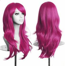 """Cosplay Wig Dark Pink Approx 27 """" Long Wavy with Fringe Costume Hair"""