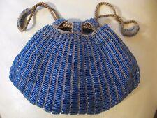 Antique Art Deco Tan Crochet Periwinkle Blue Bead Lined Drawstring Flapper Purse