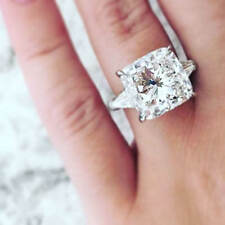 1.10 ct. Three Stone Cushion W/ Baguette Cut Diamond Engagement Ring GIA H, VS1