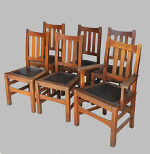 Antique Arts and Crafts Mission Oak Set of Six Dining Chairs – Stickley Brothers