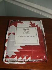 Brand New Joyful Red/White Star Reversible Holiday Pillow Sham King