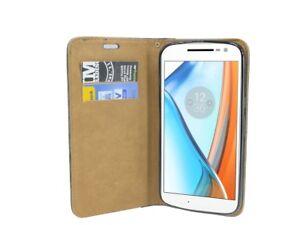 Book-Style Phone Case Accessory Pouch IN Braun For Lenovo Moto G4 @ COFI
