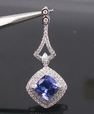 SOLID 18Kt WHITE GOLD NATURAL BLUE TANZANITE FULL CUT DIAMOND WEDDING PENDANT
