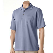 New Grand Slam Men's Ottoman Striped Performance Polo Gray Size Lt Msrp $60
