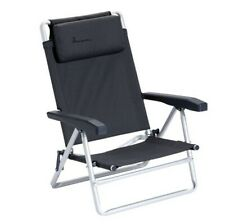 Isabella Beach Chair -Folding Dark Grey Low Deck Chair