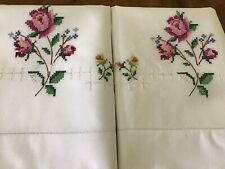 Pair Unused Embroidered Pillowcases Flowers Drawn Work