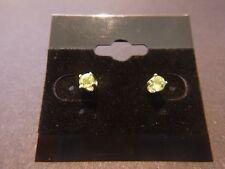 Genuine Peridot 0.42ct 3.5mm Round Stud 925 Sterling Silver Earrings