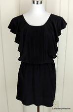 TYLHO Anthropologie S 100% Silk Angel Sleeve LITTLE BLACK Mini Dress