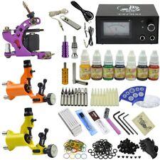Complete 3 Machines Tattoo Guns Kit Equipment 7 Colour Ink Power Supply Set