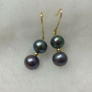 stunning AAA10- 9MM south sea black pearl earrings 14K GOLD