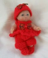 """Doll Clothes Red Handmade knit dress set for mini baby 5"""" Berenguer ooak 6"""""""