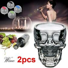2pcs Clear Crystal Whiskey Red Wine Skull Head Glass Cup + 4pc Ice Brick Mold MT