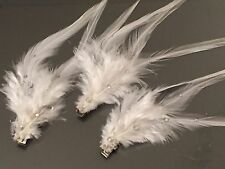 CHRISTMAS 3 White Feather Clips Decorations Handmade Silver Diamanté