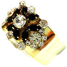 USA Bracelet vintage gold rhinestone CRYSTAL cuff large wide flower black NEW
