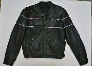 Langlitz Schott Quality Cafe Racer Black Leather Motorcycle Jacket Size 44 Large
