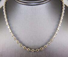 Fancy Yellow Diamond Round Cut Graduated Tennis Necklace 18K White Gold 10.08Ct