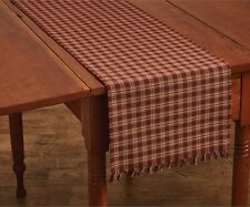 Primitive Country Wine Sturbridge Table Runner 13X54 Plaid Cotton Farmhouse