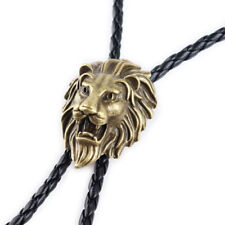 Lion Head Mens Bolo Tie Wedding Necklace PU Leather Rope Western Cowboy