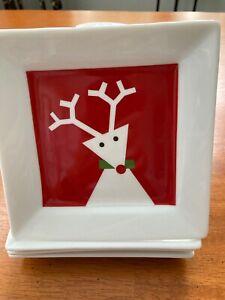 "Crate and Barrel Appetizer, Dessert or Salad Plates 6"" square Christmas Reindeer"