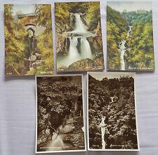 5 old postcards of Devil's Bridge - Punch Bowl, Mynach, Devils Bridge Falls