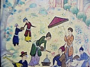 HAND PAINTING NOMADS FESTIVAL BY THE CREEK VINTAGE MIDDLE EAST 1940's FRAMED