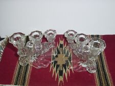 2 VINTAGE CAMBRIDGE CAPRICE CANDLESTICK HOLDERS 3 LIGHT TIERED CLEAR GLASS #1338