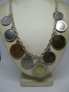 """Milor 925 Sterling Silver Italian Lire Coin Rolo Chain Charm Necklace 20"""""""