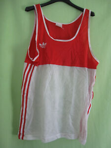 Maillot Adidas 80'S Rouge et Blanc Athlétisme Trefoil running vintage Femme - L