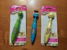 Shopkins Lot 3 Clicker Pen Green Apple Blossom Blue Chocolate Yellow Kookie Read