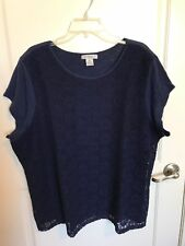 LIZ CLAIBORNE NAVY BLUE TOP CROCHETED LACE FRONT PANEL PLUS SIZE 3X