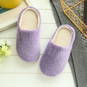 Women Men Home Slippers Soft Bottom Slippers Cotton Indoor Plain Suede Non Slip