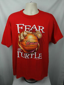 University of Maryland Mens XL Tee Shirt Fear The Turtle Basketball 2002 Red EUC