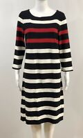 Lands' End Women's Dress Size S / M Stripped Navy White Red Nautical Cotton