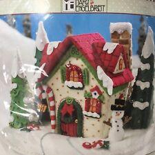 Bucilla MARYS SNOW COTTAGE Felt Christmas Kit Centerpiece Mary Engelbreit RARE