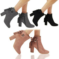 New Women's Ladies Faux Suede Zip Low Cuban Heel Work Ankle Bow Boots Shoes Size