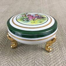 Limoges Trinket Box French Porcelain Fragonard Green White Gold Footed