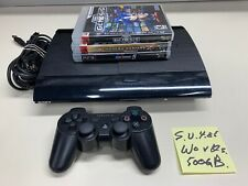 SONY PLAYSTATION PS3 SUPER SLIM CONSOLE CECH-4001C 500GB W/ CABLES & CONTROLLER