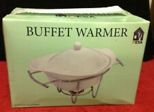 NIB White Oval MESA Ceramic Buffet Covered Warmer Dish Chrome Metal Serving Rack