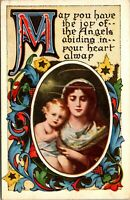 Vintage 1910's Colorful Mary with Jesus Baby Child, Merry Christmas Postcard