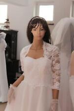 NEW White Ivory Lace Bolero Shrug Wedding Jacket 3/4 Sleeve -Various Sizes-K41