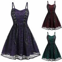 Women Black Lace Mesh Skull Dress/ Skull Dress/ Goth Skull Bowknot Dress UK