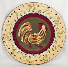 Chez Rooster Dinner Plate 222 Fifth Dinnerware Colorful Folk Art Country DD