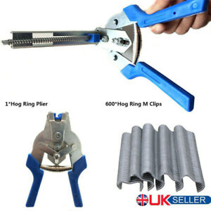 Hog Ring Plier + 600x M Clips Jaws Tool Staples Chicken Mesh Wire Cage UK