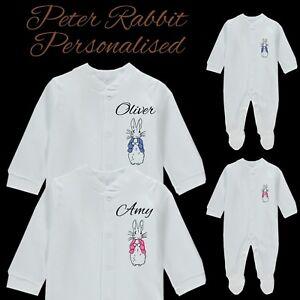 PETER RABBIT Personalised Baby Grow Vest Bodysuit - Printed Name Boy Girl Gifts