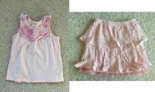 Naartjie pink ruffle tank top tee lace tulle skirt 7 po girls EUC