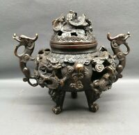 Collect noble Fengshui copper bronze 9 dragon Statue Hollow out Incense burner